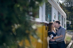 E-session Image with a Yellow Tram in Hungary