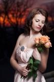 Stylish Fashion Image with Flowers at Night